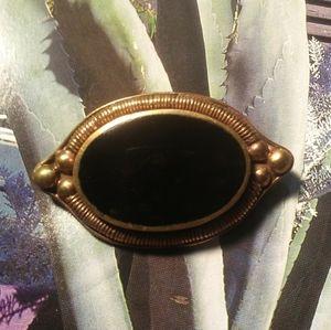 Antique Jewelry - Antique Estate British Gold Onyx Inlay Brooch